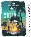 summer night party vector flyer ... | Shutterstock .eps vector #414310096