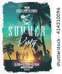 Summer Night Party Vector Flyer Template | Shutterstock vector #414310096