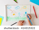 child draws a pencil drawing of ... | Shutterstock . vector #414315322