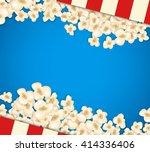 heap popcorn for movie lies on... | Shutterstock .eps vector #414336406