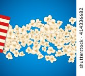 heap popcorn for movie lies on... | Shutterstock .eps vector #414336682