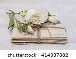old letters and flowers | Shutterstock . vector #414337882