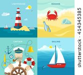 four square nautical colored... | Shutterstock .eps vector #414345385
