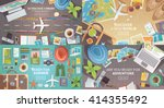 flat vector web banners set on... | Shutterstock .eps vector #414355492