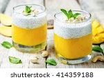 mango greek yogurt chia seeds... | Shutterstock . vector #414359188