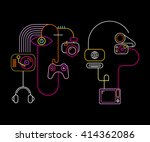 neon colors on a black... | Shutterstock .eps vector #414362086