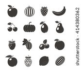 fruits black icons. different...