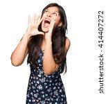 latin woman shouting | Shutterstock . vector #414407272