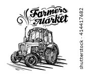vector farm tractor hand drawn... | Shutterstock .eps vector #414417682
