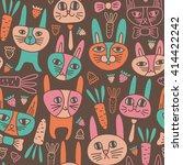 funny bunnies seamless pattern | Shutterstock .eps vector #414422242