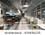 Stock photo interior of a restaurant in the evening 414436135