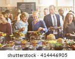brunch choice crowd dining food ... | Shutterstock . vector #414446905