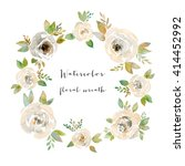 watercolor floral frame.... | Shutterstock . vector #414452992