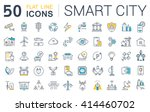 set vector line icons in flat... | Shutterstock .eps vector #414460702