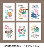 birthday cards with birthday... | Shutterstock .eps vector #414477412