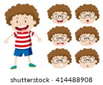 boy with curly hair and many... | Shutterstock .eps vector #414488908