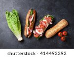 ciabatta sandwich with romaine... | Shutterstock . vector #414492292