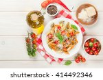 colorful penne pasta with... | Shutterstock . vector #414492346
