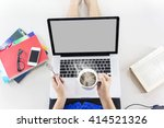 top view of lady sitting and... | Shutterstock . vector #414521326