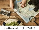 go on an adventure  the map and ... | Shutterstock . vector #414522856