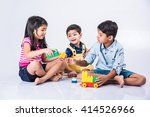 indian kids playing with block...   Shutterstock . vector #414526966