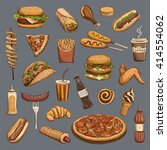 hot dog   hamburger   sausage   ... | Shutterstock .eps vector #414554062