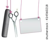 hanging hairdresser tools with... | Shutterstock .eps vector #414560218