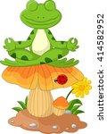 frog cartoon sitting on mushroom | Shutterstock .eps vector #414582952