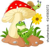 Cute Frog And Snail Cartoon...