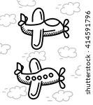 airplane cartoon vector ... | Shutterstock .eps vector #414591796