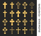cross icons set. decorated... | Shutterstock .eps vector #414642646
