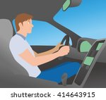 car interior and driver  vector ... | Shutterstock .eps vector #414643915