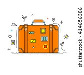 suitcase with stickers liner... | Shutterstock .eps vector #414656386