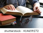Woman Read Hardcover Book On...