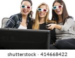 girls watching 3d movies with...   Shutterstock . vector #414668422