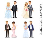 set of happy wedding couples.... | Shutterstock . vector #414672412