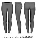 women's full length compression ... | Shutterstock .eps vector #414674206
