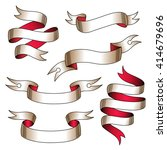 set of stylized tattoo ribbons... | Shutterstock .eps vector #414679696