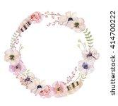 watercolor floral wreath....   Shutterstock . vector #414700222