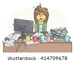 exhausted  overworked business... | Shutterstock .eps vector #414709678