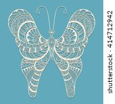 vector lacy doodle butterfly on ... | Shutterstock .eps vector #414712942