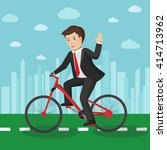 businessman riding a bicycle in ... | Shutterstock .eps vector #414713962