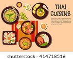 thai cuisine with spicy shrimp... | Shutterstock .eps vector #414718516
