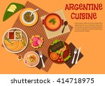 argentine cuisine with grilled...   Shutterstock .eps vector #414718975