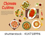chinese peking duck served with ... | Shutterstock .eps vector #414718996