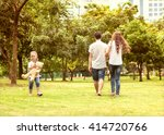 family walk in the park  happy... | Shutterstock . vector #414720766