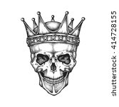hand drawn king skull wearing... | Shutterstock .eps vector #414728155