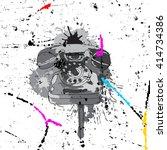 abstract retro handset  smears... | Shutterstock .eps vector #414734386