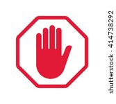 red hand blocking sign stop ... | Shutterstock .eps vector #414738292
