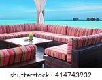 table  at summer terrace | Shutterstock . vector #414743932